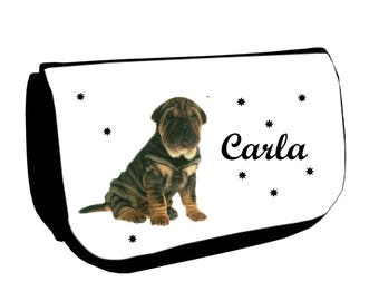 Cosmetic case Black /crayons Sharpei personalized with name