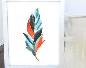 Watercolor Feather Print - Watercolor Painting - Home Decor - Wall Art - Office Decor - Gift Ideas - Gifts for Her - Blue - Orange