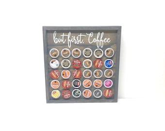 But First Coffee | Coffee Decor | Coffee Bar | Coffee Station | K Cup Holder | Wall Mounted K Cup Holder | Kitchen Storage And Organization
