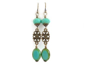 Turquoise Bohemian Earrings - Picasso Czech Glass Beads - Bronze Filigree - Long Boho Dangles
