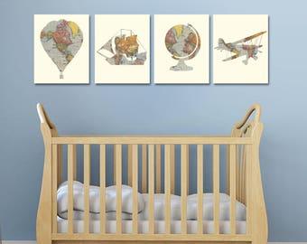 Nursery Decor - Travel Theme Nursery - Baby Shower - Travel Baby Shower - Vintage Map Prints - Nursery Wall Art - Hot Air Balloon Nursery