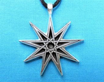 NEW Bahá'í Star, Nonagram, Enneagram, 9 Pointed Star, Small Silver Pewter Necklace Pendant STK048