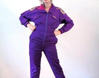 80s Ellesse Ski Suit M, Women's Purple Jumpsuit, Vintage Skisuit, One Piece Snowsuit, Winter Sportswear Coveralls, Medium