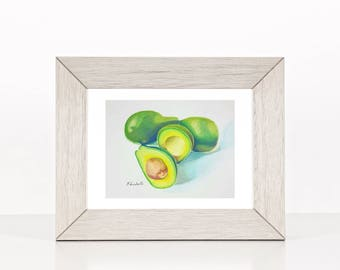 Still life with avocados, original painting ready to hang, to gift, gift idea for fruit lovers, home traditional decoration for kitchen wall