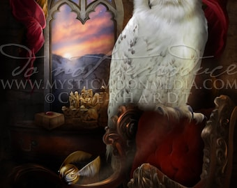 Owl of Bravery /  Potter Gift Art / Lion / Nerd Gifts / Nerdy / Wizard / Witch / Magic / Magical / Wizardry / School of