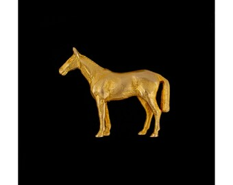 Solid 9ct Gold Horse Brooch, Thoroughbred Racing Horse Brooch, Vintage Animal Jewellery, Equestrian Jewellery, Horse Racing, Men's Gifts