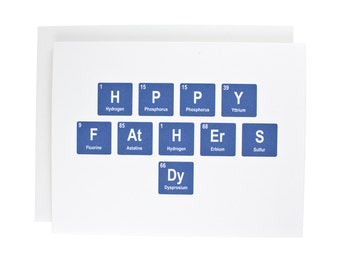 Happy Fathers Day greeting card, periodic table, father, dad, geeky, fathers day, blue, appreciation