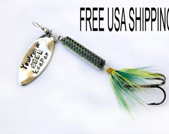 Personalized fishing lure, hand stamped fishing lure, engraved fishing lure, colored fishing lure, fishing lure, fishing product, custom