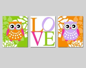 Owl Love Floral Nursery Art Trio - Set of Three 8x10 Prints - Kids Wall Art - CHOOSE YOUR COLORS