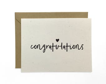 NEW | Hand Lettered Congratulations Card, Wedding Congrats, Recycled Card