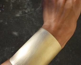 Brass Bangle Gold Wide Cuff Warrior Bracelet, Bohemian Arm Jewelry Handmade
