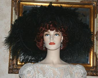 Kentucky Derby Ascot Hat Edwardian Hat Feathered Downton Abby Hat Black Hat Wide Brim Hat Women's Hat -  Feathered Frenzie