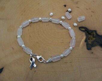 Reiki Healing Bracelet, Breast Cancer Awareness Bracelet, Love and Compassion Bracelet, Rose Quartz Bracelet, Awareness Charm