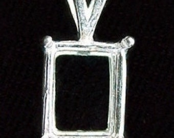 sterling silver  14x10 octagon wire pendant mounting