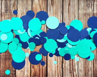 Confetti party decor, handmade navy blue teal paper table scatter, under the sea bubble decorations, wedding and birthday table sprinkle