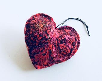 Felt Heart Ornament, Blue Pink Red Valentine Heart, Wool Heart, Silk Heart, Valentines Day Decor, Hanging Decoration