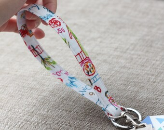 Kids drawing wristlet keychain - Fabric key fob - Children art - Kids print - Keychain wristlet - Wrist strap - Key ring