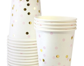 Cups | Pink & Gold Confetti Paper Cups 9oz | Gold Foil | 12 Premium Quality Paper Cups | Party Cups | Party Supplies | The Party Darling