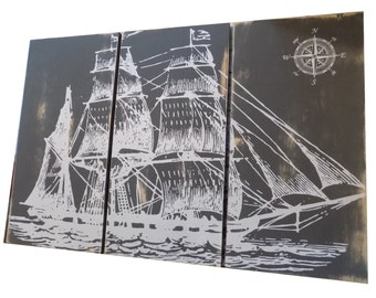Distressed Vintage Pirate Ship SAILBOAT - Screen Print - Wood Painting - Hanging  Wall Art  on Stained Solid BIRCH - Gift for Him/ Her