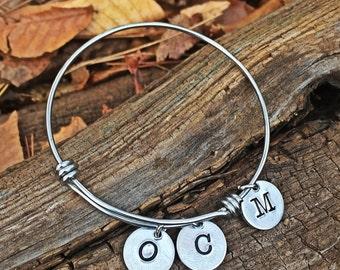 Inital bangle bracelet, mother's inital bracelet, monogram bangle bracelet, hand stamped inital bracelet, mom charm bracelet, mom gift