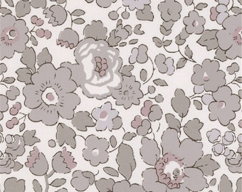 Printed fabric Liberty pattern Liberty Betsy grey Platinum color