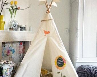 Kids teepee, MIDI size, tipi tent, play teepee, pretty teepee, flower teepee, personalised teepee, nursery decor, kids room, stylish teepee