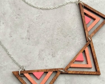 Pink statement necklace ~ wooden geometric bib necklace ~ festival jewelry for women ~ art deco triangle necklace ~ Bohemian jewelry