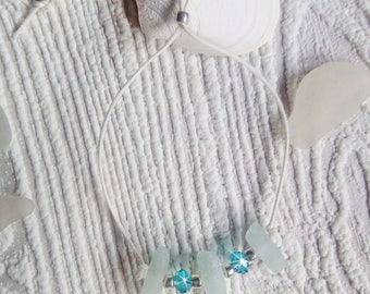 Sea glass bracelet - Aqua Beach glass bracelet.  Beach glass jewelry.