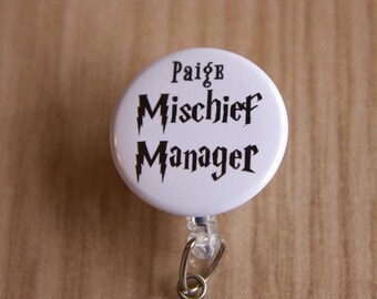 Mischief Manager Badge Reel-ID Badge Holder-Letter Never Came-Retractable Name Badge Reel-Harry Potter Inspired