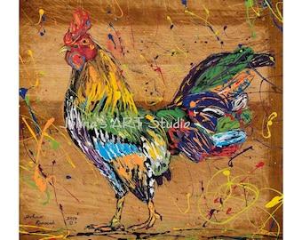 Rooster wall art, Rooster print, Kitchen art, Bird art, Nature art, metal prints,  Johno Prascak, Johnos Art Studio