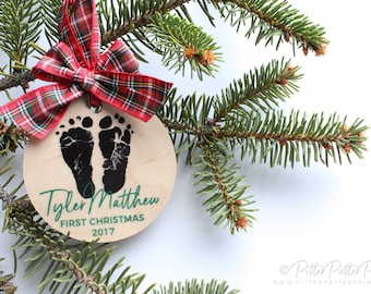 Rustic First Christmas Ornament Baby, Personalized Natural Wood, Gift, 1st Holiday Home Decor, Your Child's ACTUAL Feet
