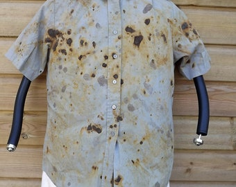 "Womens Rust Chemical Dyed Shirt, Postapo, Wasteland, Post Apocalypse , Military, Mad Max, Bust 40"" / 100cm - 14.5"" / 37cm Collar - #49"