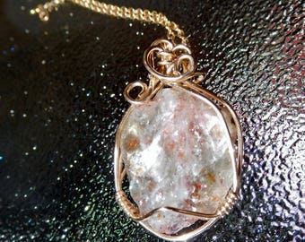 Rough Sunstone crystal 14k gold filled wire wrapped pendant