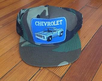 Vintage Chevy Camo Snapback Trucker Hat 70s