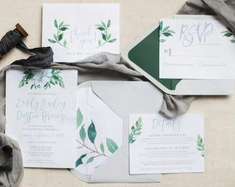 Greenery Wedding Invitation Set, Wedding Invitations, Garden Wedding Suite, Invitation with RSVP and Envelope, Printed Invitation Suite