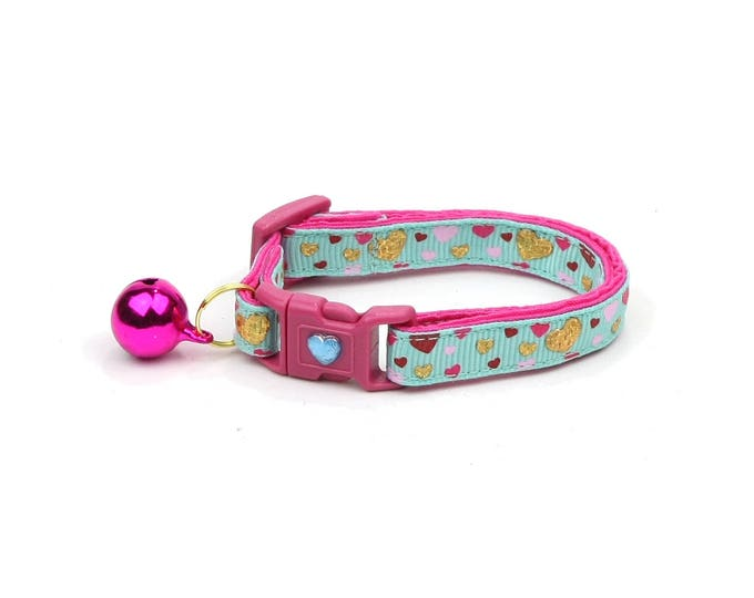 Valentines Day Cat Collar - Raining Hearts on Aqua - Kitten or Large Size