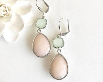 Soft Peach and Light Mint Bridesmaid Earrings in Silver. Dangle Earrings.  Bridesmaid Jewelry. Spring Wedding Jewelry. Bridal Party Gift.