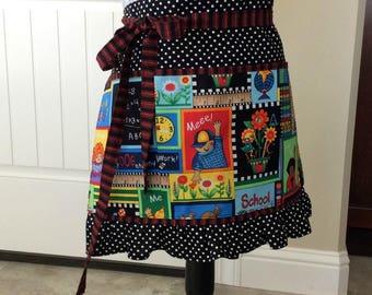 Half Apron for Teacher, School Themed Apron with Pockets, Polka Dot Ruffle Apron, Craft, Vendor, Utility, Cooking Apron