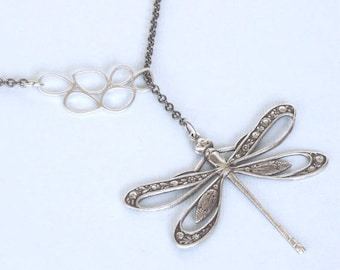 Silver Cutout Dragonfly Lariat Style Necklace - Dragonfly Jewelry, Nature Jewelry