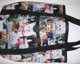 Cat Tote Bag Pink, Black and White with Kitty Cats