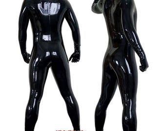 Latex neck entry catsuit