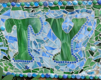 """CUSTOM MADE Mixed Media Mosaic Personalized Name Sign / Plaque - You Get to """"Design the Sign"""" - This One Is 28""""x12"""" / 1.00/sq in"""
