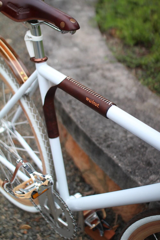Leder Fahrrad Top Tube Beschützer Schulterpolster und Träger