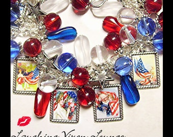 4th Of July Jewelry - Patriotic Jewelry - July 4th Necklace - 4th Of July Bracelet - Memorial Day Charm Bracelet -  Remembrance Full Photo