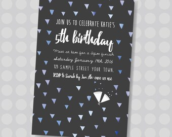 Blue or Pink Party Popper Triangles, Colourful Triangles || Downloadable Invitation || Printable JPG/PDF