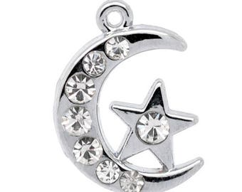 Moon & star rhinestone 20x14mm pendant
