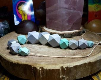 11 Silver, Grey & Green Wooden Polygonal beads