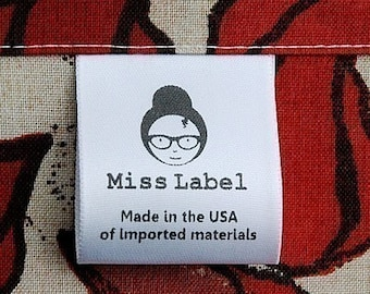 100 sew-in soft Satin Clothing labels custom printed in USA