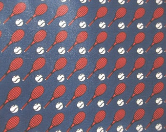 Tennis Scarf, French Federation. Red white and blue rackets & balls. Official FFT neck wrap. Sports lover birthday accessory gift of France.