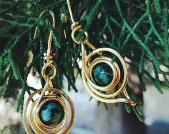 Spiral Earrings with African turquoise